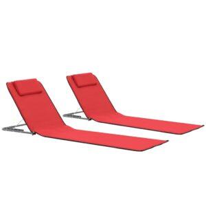 Colchões de praia dobráveis 2 pcs aço e tecido vermelho - PORTES GRÁTIS