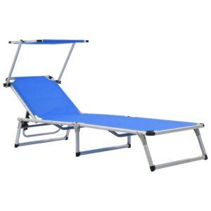 Espreguiçadeira dobrável com teto alumínio e textilene azul  - PORTES GRÁTIS