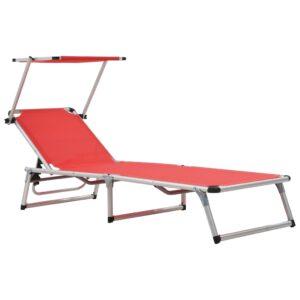 Espreguiçadeira dobrável c/ teto alumínio e textilene vermelho  - PORTES GRÁTIS