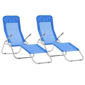 Espreguiçadeiras dobráveis 2 pcs textilene azul  - PORTES GRÁTIS