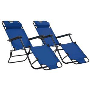 Espreguiçadeiras dobráveis com apoios de pé 2 pcs aço azul   - PORTES GRÁTIS