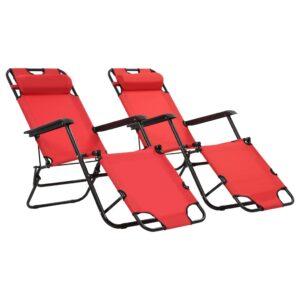 Espreguiçadeiras dobráveis c/ apoio de pés 2 pcs aço vermelho   - PORTES GRÁTIS