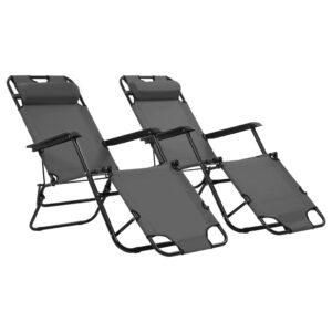 Espreguiçadeiras dobráveis c/ apoio de pés 2 pcs aço cinzento  - PORTES GRÁTIS