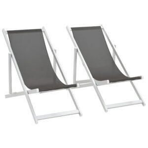 Cadeiras de praia dobráveis 2 pcs alumínio e textilene cinzento - PORTES GRÁTIS