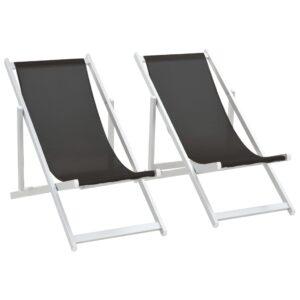 Cadeiras de praia dobráveis 2 pcs alumínio e textilene preto - PORTES GRÁTIS