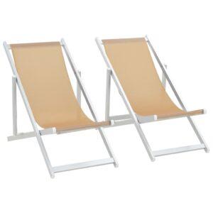 Cadeiras de praia dobráveis 2 pcs alumínio e textilene creme - PORTES GRÁTIS