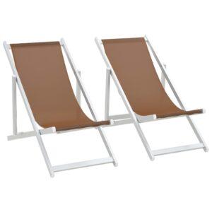Cadeiras de praia dobráveis 2 pcs alumínio e textilene castanho - PORTES GRÁTIS
