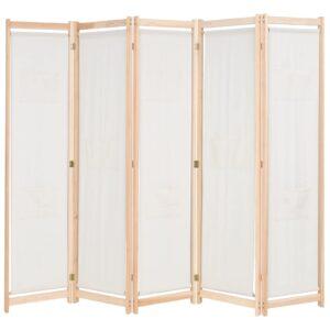 Divisória de quarto com 5 painéis 200x170x4 cm tecido creme  - PORTES GRÁTIS