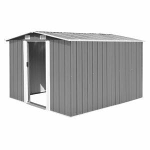 Abrigo de jardim 257x298x178 metal cinzento - PORTES GRÁTIS