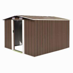 Abrigo de jardim 257x298x178 cm metal castanho - PORTES GRÁTIS