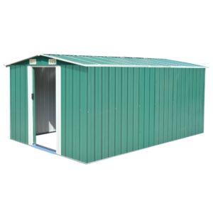 Abrigo de jardim 257x398x178 cm metal verde - PORTES GRÁTIS