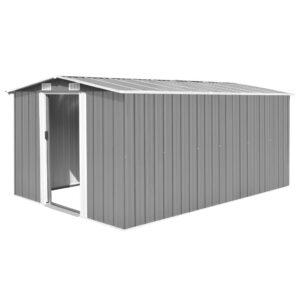 Abrigo de jardim 257x398x178 cm metal cinzento - PORTES GRÁTIS