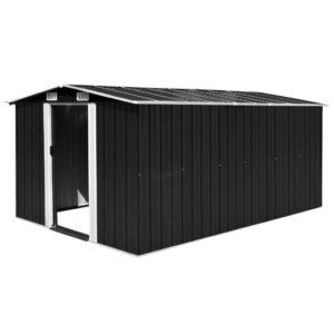 Abrigo de jardim 257x398x178 cm metal antracite - PORTES GRÁTIS
