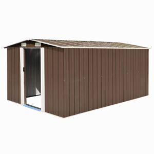 Abrigo de jardim 257x398x178 cm metal castanho - PORTES GRÁTIS