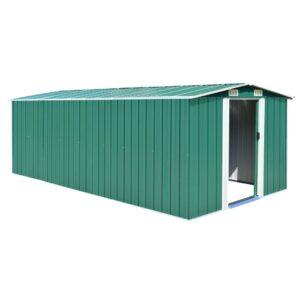 Abrigo de jardim 257x497x178 cm metal verde - PORTES GRÁTIS