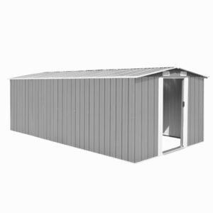 Abrigo de jardim 257x497x178 cm metal cinzento - PORTES GRÁTIS