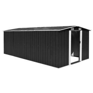 Abrigo de jardim 257x497x178 metal antracite - PORTES GRÁTIS