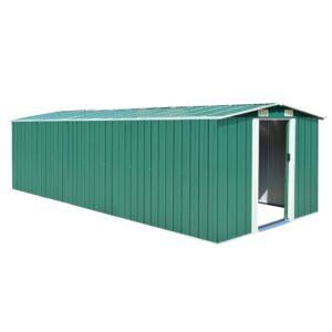 Abrigo de jardim 257x597x178 cm metal verde - PORTES GRÁTIS