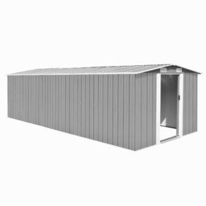 Abrigo de jardim 257x597x178 metal cinzento - PORTES GRÁTIS
