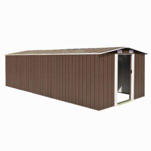 Abrigo de jardim 257x597x178 cm metal castanho - PORTES GRÁTIS