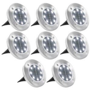 Iluminação LED solar para pisos 8 pcs branco  - PORTES GRÁTIS