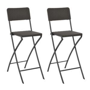Cadeiras de bar dobráveis 2 pcs PEAD e aço aspeto vime castanho - PORTES GRÁTIS