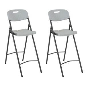 Cadeiras de bar dobráveis 2 pcs PEAD e aço branco - PORTES GRÁTIS