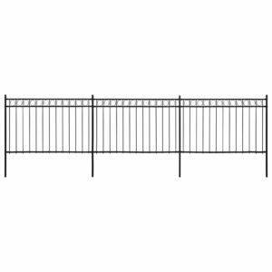 Painéis de vedação com postes aço 6x2 m preto - PORTES GRÁTIS