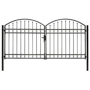 Portão p/ cerca porta dupla e topo arqueado 300x125cm aço preto - PORTES GRÁTIS