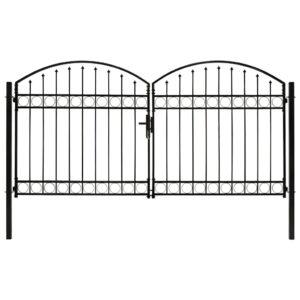 Portão p/ cerca porta dupla e topo arqueado 300x150cm aço preto - PORTES GRÁTIS