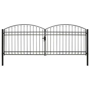Portão p/ cerca porta dupla topo arqueado 400x150 cm aço preto  - PORTES GRÁTIS