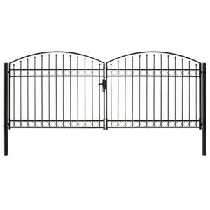 Portão p/ cerca porta dupla e topo arqueado 400x175cm aço preto - PORTES GRÁTIS