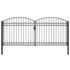 Portão p/ cerca porta dupla e topo arqueado 400x200cm aço preto - PORTES GRÁTIS