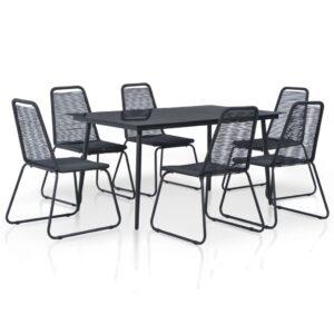 7 pcs conjunto de jantar para exterior vime PE preto - PORTES GRÁTIS