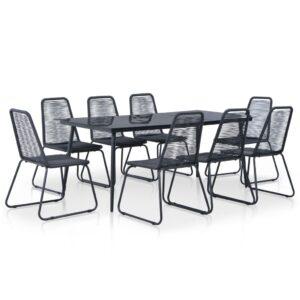 9 pcs conjunto de jantar para exterior vime PE preto - PORTES GRÁTIS