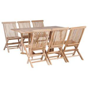 7 pcs conjunto jantar dobrável p/ exterior madeira teca maciça - PORTES GRÁTIS