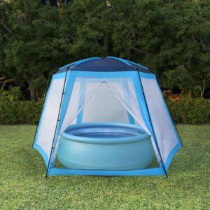 Tenda para piscina 500x433x250 cm tecido azul - PORTES GRÁTIS