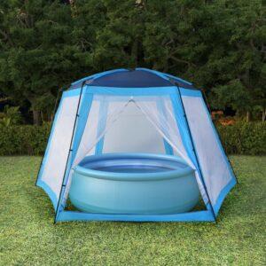 Tenda para piscina 590x520x250 cm tecido azul - PORTES GRÁTIS