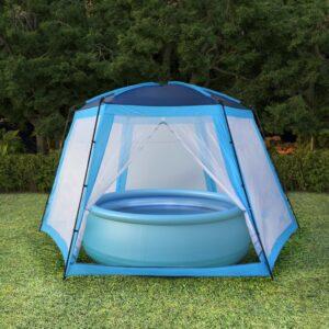 Tenda para piscina 660x580x250 cm tecido azul - PORTES GRÁTIS