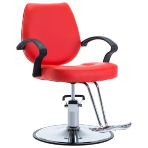 Cadeira de barbeiro couro artificial vermelho - PORTES GRÁTIS
