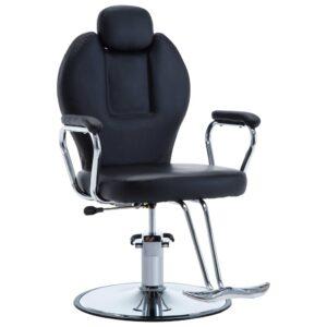 Cadeira de barbeiro couro artificial preto - PORTES GRÁTIS