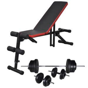 Banco musculação c/ conjunto de barras e halteres 60,5 kg - PORTES GRÁTIS