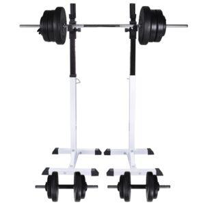 Suporte barra musculação c/ conjunto pesos e barras 60,5 kg - PORTES GRÁTIS