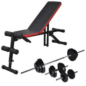 Banco musculação ajustável + conjunto barras e halteres 30,5 kg - PORTES GRÁTIS