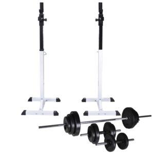 Suporte barra musculação c/ conjunto pesos e barras 30,5 kg - PORTES GRÁTIS