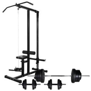 Torre de musculação com conjunto barras e halteres 60,5 kg - PORTES GRÁTIS