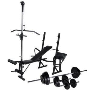 Banco musculação c/ suporte p/ pesos + barras e halteres 30,5kg - PORTES GRÁTIS