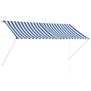 Toldo retrátil 250x150 cm azul e branco - PORTES GRÁTIS