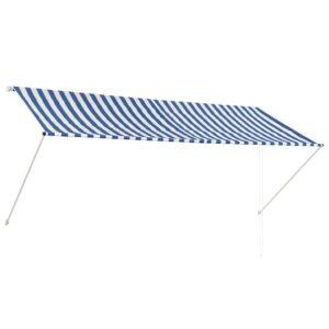 Toldo retrátil 300x150 cm azul e branco - PORTES GRÁTIS