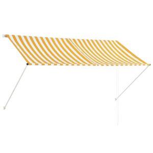 Toldo retrátil 250x150 cm amarelo e branco - PORTES GRÁTIS